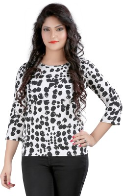 Ossi Casual 3/4th Sleeve Polka Print Women's White Top at flipkart