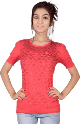 TIMBERLAKE Casual Short Sleeve Solid Women's Pink Top