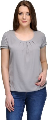 India Inc Casual Short Sleeve Solid Women's Grey Top