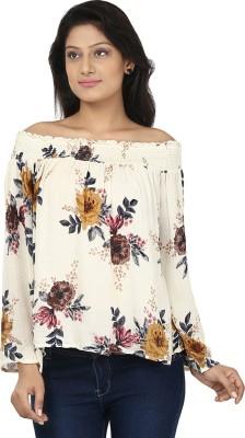 Clo Clu Casual Full Sleeve Floral Print Women,s Beige, Yellow Top