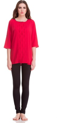 Private Lives Casual 3/4 Sleeve Solid Women's Red Top