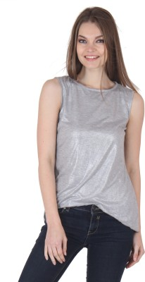 Rrajsee Casual Sleeveless Solid Women's Silver Top