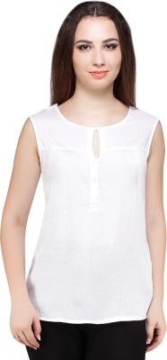 Styles Clothing Casual Sleeveless Solid Women's White Top