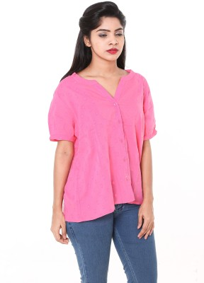 Old Khaki Casual Short Sleeve Solid Women's Pink Top