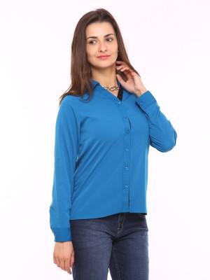 Vvoguish Women,s Solid Casual Blue Shirt