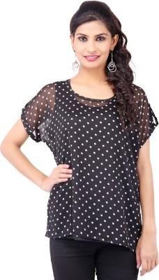 Pear Blossom Casual Short Sleeve Polka Print Women's Black Top