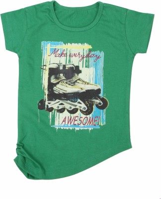 Earth Conscious Casual Short Sleeve Printed Girl's Green Top