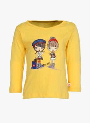 Baby League Casual Full Sleeve Printed Baby Girl,s Yellow Top