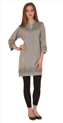 Skirts & Scarves Casual 3/4 Sleeve Embroidered Women's Grey Top