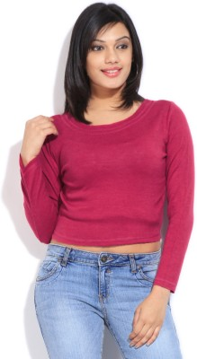 Global Desi Casual Full Sleeve Solid Women's Pink Top