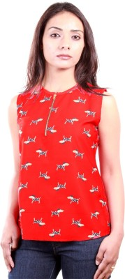 AR2 Casual Sleeveless Printed Women's Red Top