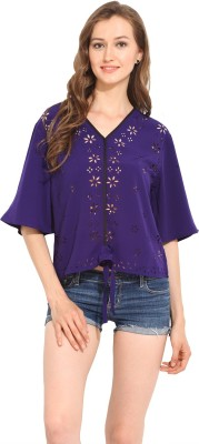 Albely Casual Short Sleeve Solid Women's Blue Top