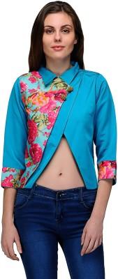 Natty India Casual 3/4 Sleeve Printed Women's Light Blue Top
