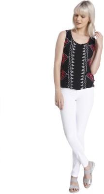 Vero Moda Casual Sleeveless Printed Women's Black Top