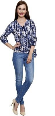SHE LIKE Casual 3/4 Sleeve Printed Women's Multicolor Top