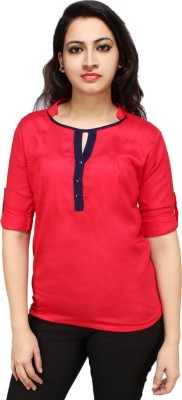 Styles Clothing Casual 3/4 Sleeve Solid Women's Red Top