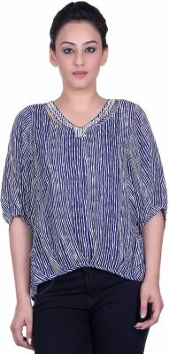 Sellsy Casual 3/4 Sleeve Striped Women's Blue Top