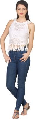 True Fashion Casual Sleeveless Embellished Women's White Top