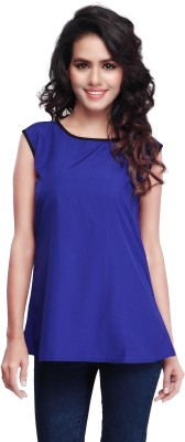 SFDS Casual, Formal, Party Sleeveless Self Design Women's Blue Top