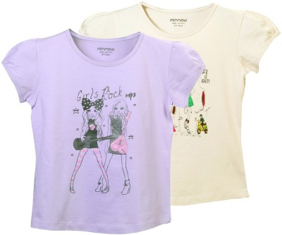 Minnow Casual Short Sleeve Solid Girl's Multicolor Top