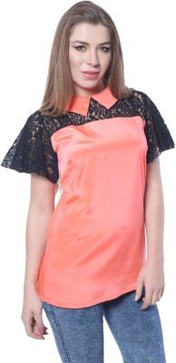 Trendy Divva Casual Short Sleeve Self Design Women,s Orange Top
