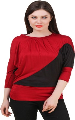 Komal Trading Co Wedding, Casual, Party 3/4 Sleeve Solid Women's Black, Maroon Top