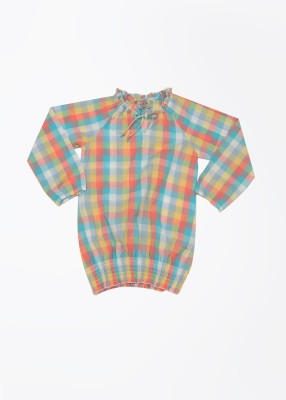 Cherokee Kids Casual Full Sleeve Checkered Girl,s Multicolor Top