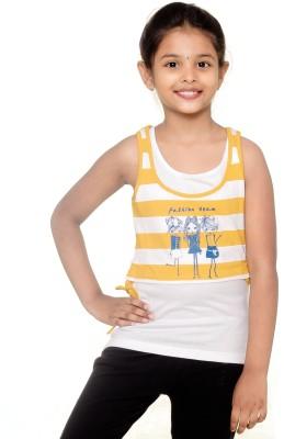 Menthol Lounge Wear Sleeveless Printed Girl's White, Yellow Top