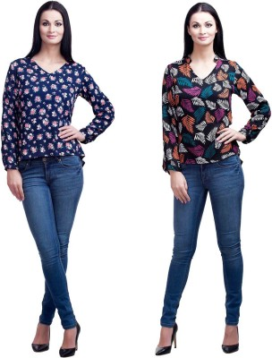 Mallory Winston Casual Full Sleeve Floral Print Women's Multicolor Top