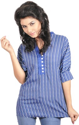 My Hollywood Shop Casual 3/4 Sleeve Polka Print Women's Blue Top