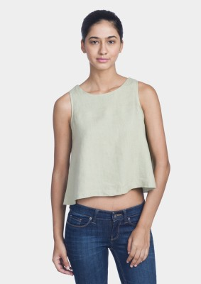 Bhane Casual Sleeveless Solid Women's Green Top