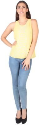 Kg&S Casual Sleeveless Solid Women's Yellow Top