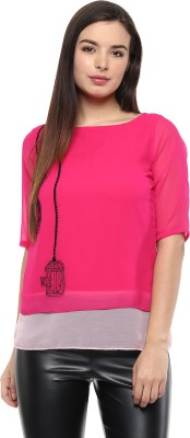 Pinwheel Casual Short Sleeve Embroidered Women's Pink Top