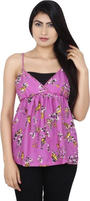 Zachi Casual Sleeveless Printed Women's Purple, Yellow Top