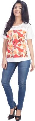 TrendBAE Casual Short Sleeve Printed Women's Multicolor Top