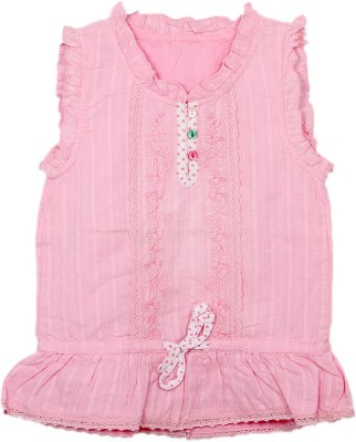 Kemrich Casual Sleeveless Printed Baby Girl's Pink Top