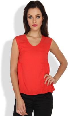 Ten on Ten Casual, Party Sleeveless Solid Women's Red Top