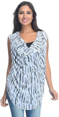 Rare Party Sleeveless Geometric Print Women's White Top
