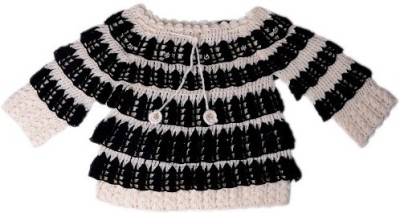 AV Casual Full Sleeve Embroidered Baby Girl's Beige, Black Top