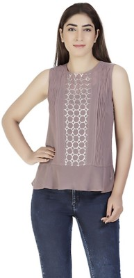 Gudi Party Sleeveless Embellished Women's Brown Top