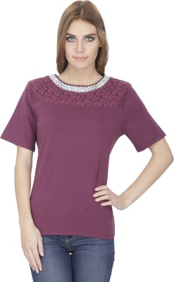 India Inc Embroidered Women's Round Neck Purple T-Shirt
