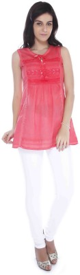 MISS PINK Casual Sleeveless Self Design Girl's Pink Top