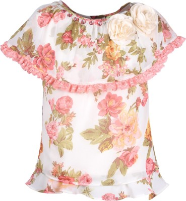 Cutecumber Party Sleeveless Floral Print Girl's Orange Top
