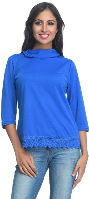 Rare Party 3/4 Sleeve Solid Women's Blue Top