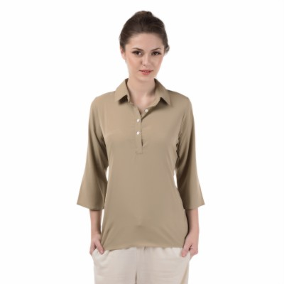 Le Luxe Casual 3/4 Sleeve Printed Women's Beige Top