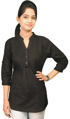 Naughty Bear Casual 3/4 Sleeve Solid Women,s Black Top