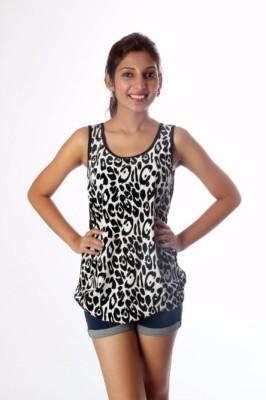 Tenn Casual, Party Sleeveless Animal Print Women's White, Black Top