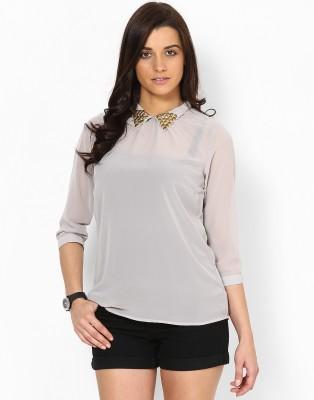 Kaxiaa Casual 3/4 Sleeve Solid Women's Beige Top