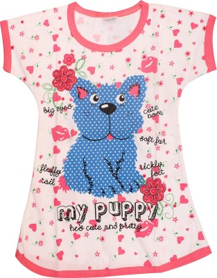 Babeezworld Casual Short Sleeve Animal Print Girl's Pink Top