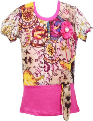 Fashionable Casual Short Sleeve Self Design Girl,s Pink Top